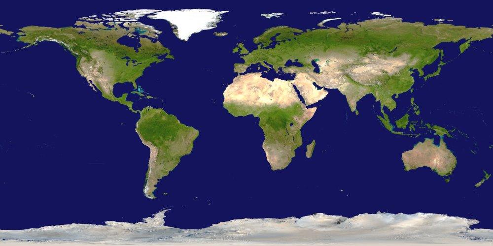 MODIS world image: lat/long projection