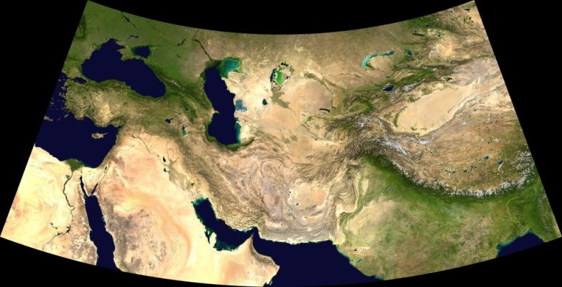 MODIS Central Asia, reprojected to Equidistant Conic
