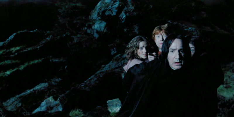 Snape protects Hermione, Ron, and Harry from Lupin the werewolf
